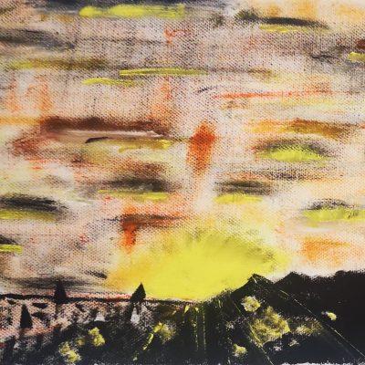 gemälde: rechts eine anhöhe und drei vögel links eine siedlung mit sonne am horizont. farben sind schwarz gelb orange weiß